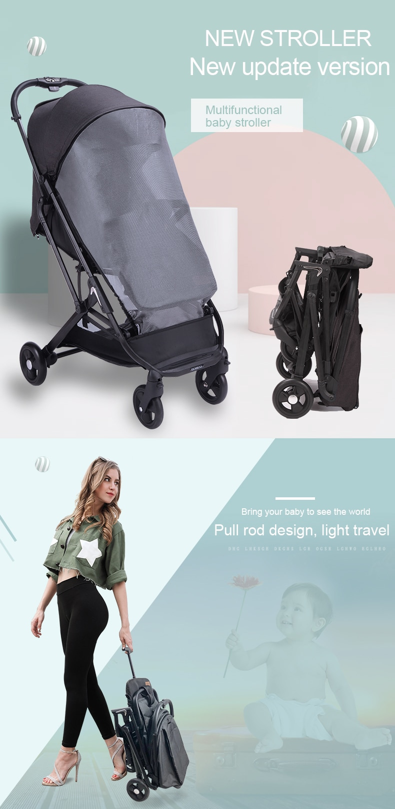 Folding Stroller with Anti-Mosquito Cover