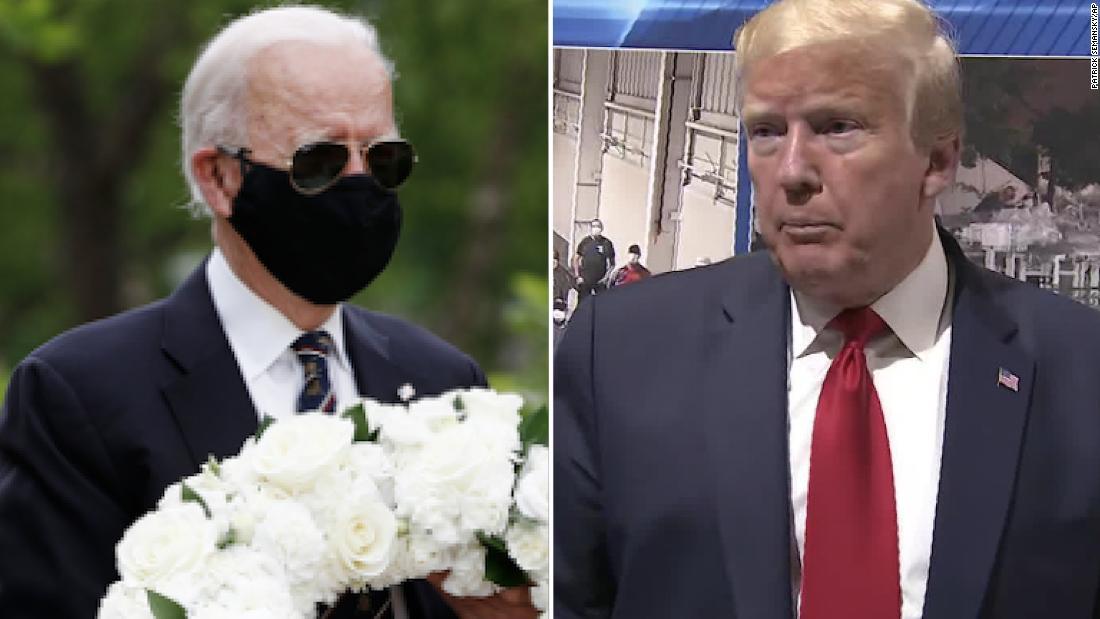 Healthy fod for babies Trump retweets criticism of Joe Biden for wearing mask